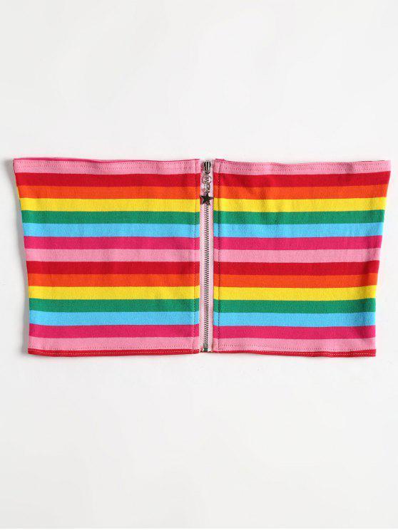 Top de tubo con cremallera y rayas - Multicolor XL