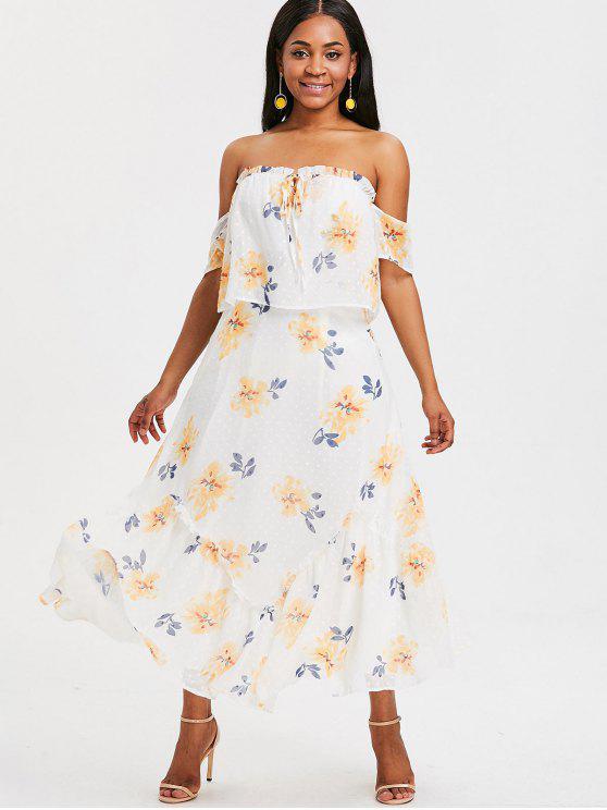 92b1f1a86e3f 45% OFF] [HOT] 2019 Floral Off Shoulder Maxi Dress In WHITE | ZAFUL
