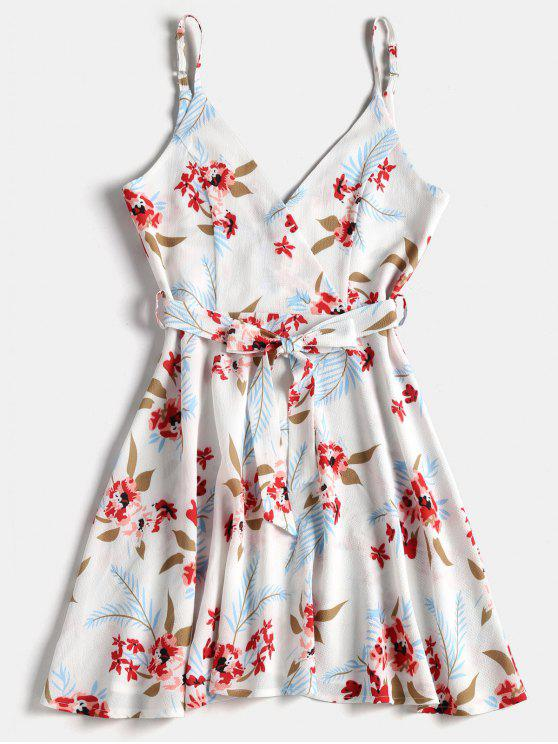 online Floral Print Belted Surplice Skater Dress - WHITE M