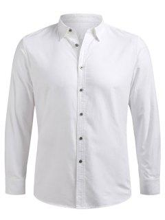 Button Up Long Sleeve Shirt - White M