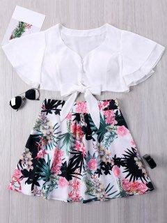 Crop Top And Floral Print Mini Skirt - L