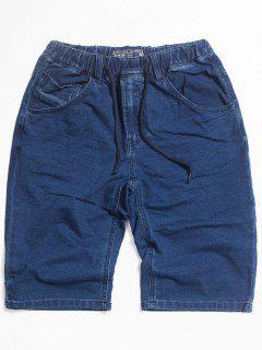 Dark Wash Drawstring Denim Shorts - Blue M