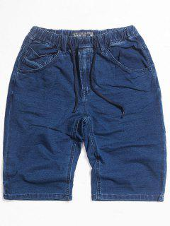 Dark Wash Drawstring Denim Shorts - Blue 2xl