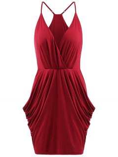 Ruched Cami Dress - Red S