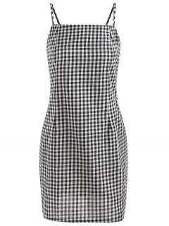 Plaid Cami Dress - Black L