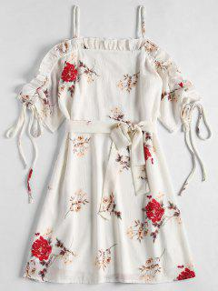 Cold Shoulder Floral Print Tea Dress - White S