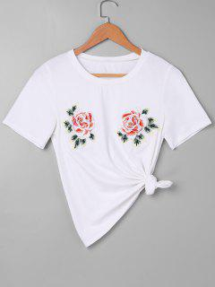 Rose Bordada Camiseta - Blanco Xl