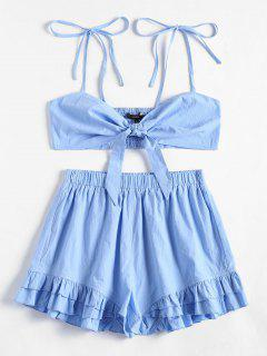 Smocked Cami Top And Ruffled Shorts Set - Light Blue L