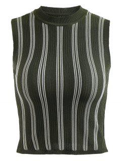 Striped Knit Vest Top - Medium Forest Green
