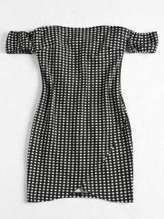 Off Shoulder Mini Plaid Dress - Black L