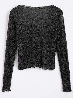 Sparkle Sheer Mesh Blouse - Black M