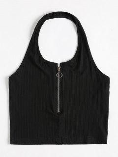 Knit Half Zip Cropped Tank Top - Black M