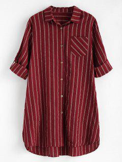 Striped High Low Pocket Dress - Red Wine