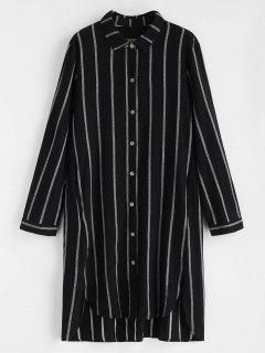 Striped Button Up High Low Dress - Black