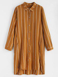 Gestreiftes  Knopf Oben Hoch Tiefes Kleid - Orange Gold