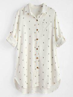 Printed High Low Pocket Dress - White