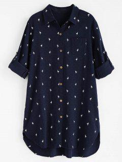 Printed High Low Pocket Dress - Midnight Blue