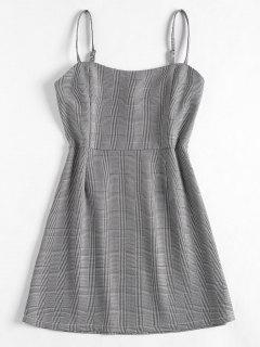 High Waist Plaid Cami Dress - Black M