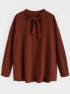 Long Sleeve Striped Bowtie Blouse - Brown