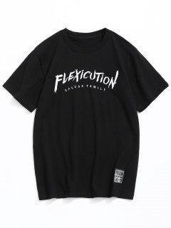 Camiseta Bordada De Manga Corta Con Letras - Negro L