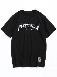 Short Sleeve Letter Embroidey Tee - Black 2xl