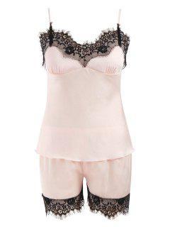 Lace Trim Satin Short Pajamas Set - Light Pink M