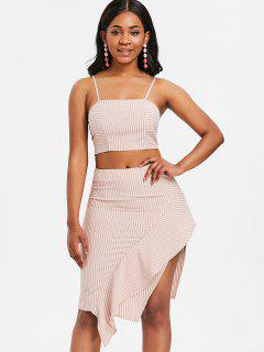 Striped Cami Top And Ruffle Skirt - Orange L