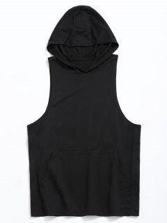 Tank Kangaroo Pocket Hoodie - Black L