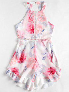 Floral Print Backless Ruffles Romper - White L