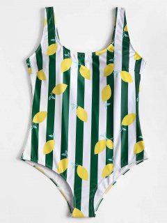 Plus Size Stripe Lemon Pattern Backless Swimsuit - Green 1x
