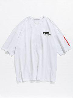 Drop Shoulder Anchor Print Tee - White Xl