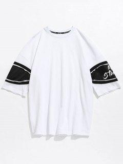 Casual Drop Shoulder Net Insert Tee - White L