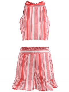 Striped Crop Top And Ruffled Shorts Set - Bean Red M