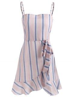 Ruffle Striped Cami Dress - Light Pink S
