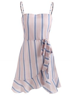 Ruffle Striped Cami Dress - Light Pink L