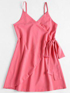 Spaghetti Strap Wrap Dress - Pink M