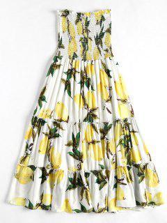 Vestido Sin Tirantes De Estampado De Limón Smocked - Blanco Xl