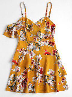Robe Volantée Imprimée Florale à Bretelles - Brun Doré M