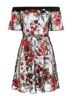 Robe Brodée Florale à épaules Dénudées - Noir S