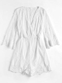 Plunging Neck Floral Mesh Romper - White S
