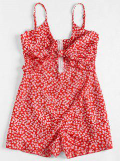 Floral Print Cut Out Cami Romper - Red M