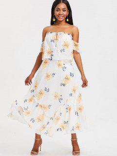 Vestido Largo Floral Con Hombros Descubiertos - Blanco Xl