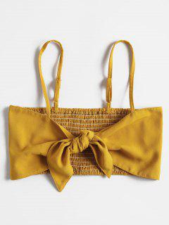 Smocked Back Tie Front Crop Top - School Bus Yellow M