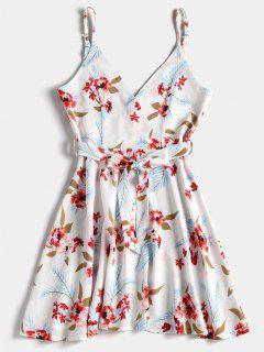 Floral Print Belted Surplice Skater Dress - White S