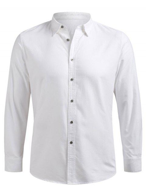 Chemise à Manches Longues Boutonnée - Blanc XL Mobile