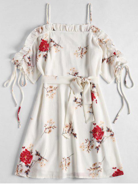 Robe Thé Imprimée Florale à épaules Dénudées - Blanc XL Mobile