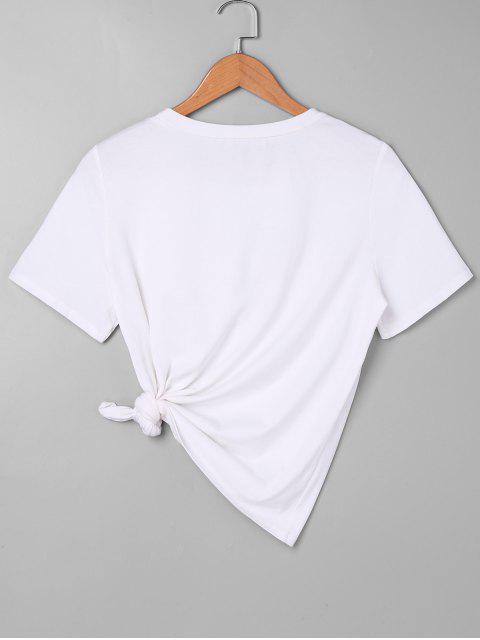 Rose bordada camiseta - Blanco L Mobile