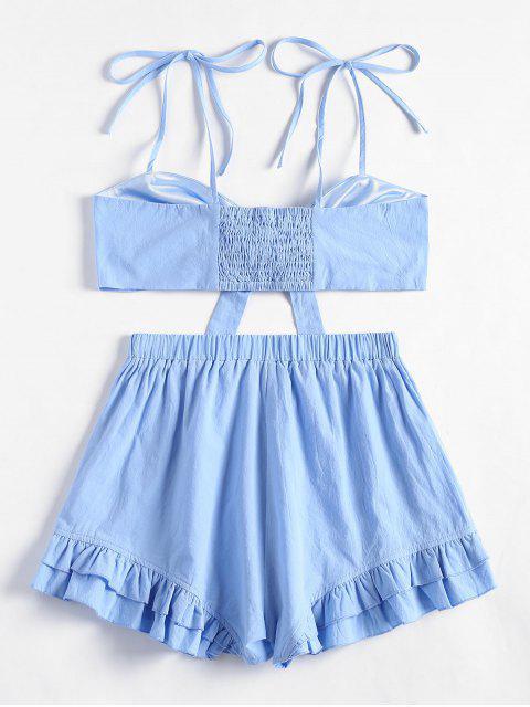 Top Cami con volantes y pantalones cortos con volantes - Azul Claro L Mobile