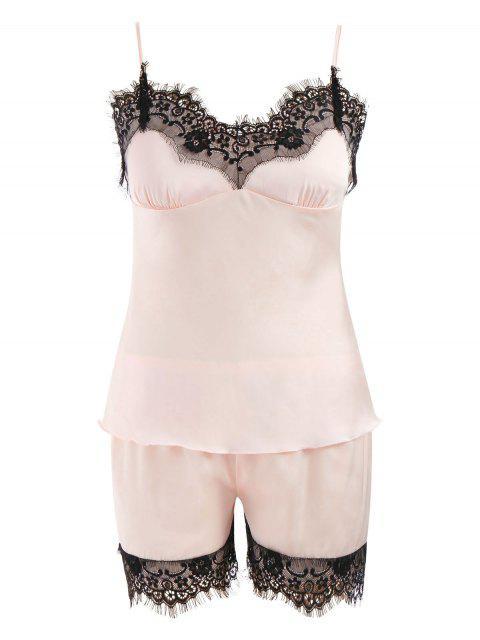best Lace Trim Satin Short Pajamas Set - LIGHT PINK 2XL Mobile