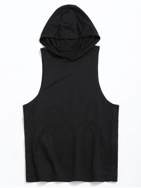 Sudadera con capucha de bolsillo del tanque del canguro - Negro L Mobile